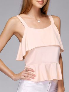 Strappy Frilled Tank Top
