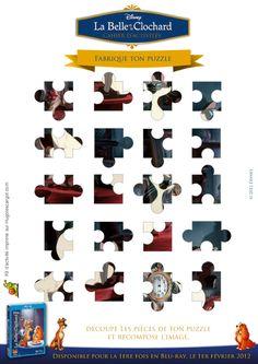 Un jeu de puzzle à imprimer puis à découper pour reconstruire l'image de la Belle et le Clochard