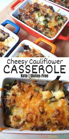 Cheesy cauliflower casserole. Easy low carb and keto ground beef recipe for all the family #lowcarb #keto #casserole #lowcarbalpha Cheesy Cauliflower, Cauliflower Casserole, Keto Casserole, Casserole Dishes, Casserole Recipes, Fast Dinner Recipes, Fast Dinners, Sugar Free Recipes, Low Carb Recipes