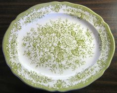 Decorative Dishes - (http://www.decorativedishes.net/sage-green-white-toile-transferware-cabbage-roses-oval-platter/)