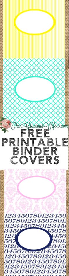 Free Printable binder or folder covers. From TheGraciousWife.com