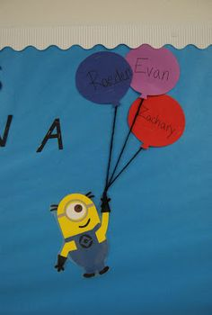 A Despicable Me minion themed classroom bulletin board. Minions were designed in Silhouette Studio design software and cut out on cardstock using the Silhouette cameo before being glued together. Smith Craft Adventures