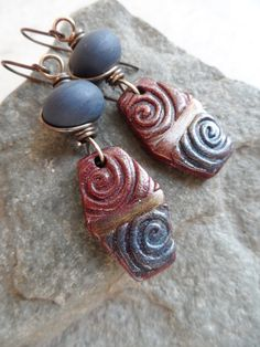 RESERVED Denim Magic ... Polymer Clay Lampwork and by juliethelen