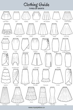 Clothing Guide - Types of Skirts Dress Design Drawing, Dress Design Sketches, Fashion Design Sketchbook, Fashion Design Drawings, Fashion Sketches, Clothes Design Drawing, Dress Drawing Easy, Fashion Model Sketch, Clothing Sketches