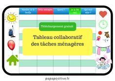 Le tableau collaboratif des tâches ménagères (téléchargement gratuit) Organiser, Map, Ainsi, Comme, Household Chores Chart, Printable, Organization, Location Map