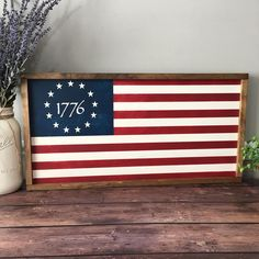 Metal Flag, Wood Flag, Civil War Flags, Stained Trim, Pallet Flag, Patriotic Decorations, Patriotic Crafts, American Flag Wood, Flag Painting