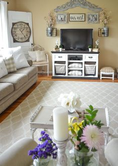 Marvelous Cool Ideas: Living Room Remodel Ideas Dark living room remodel with fireplace coffee tables.Small Living Room Remodel Mobile Homes living room remodel ideas thoughts.Living Room Remodel With Fireplace Light Fixtures. Spring Living Room, Spring Living Room Decor, Farmhouse Decor Living Room, Farm House Living Room, Living Room Tv Stand, Living Room Wall, Rustic Living Room, Living Decor, Living Room Tv
