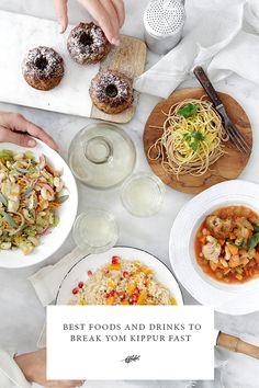 Best Foods and Drinks to Break Yom Kippur Fast - Jewish Food Hero Yom Kippur, Jewish Recipes, Rosh Hashanah, Vegan, Healthy Choices, Jewish Food, Healthy Living, Good Food, Food And Drink
