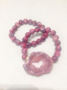 Raspberry Agate and Pink Open Druzy Stretch Bracelet Set