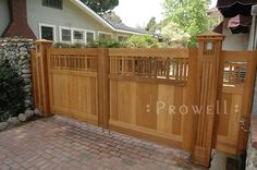 Prowell Woodworks' Arts and Crafts Driveway Gate #29 in Pasadena, CA