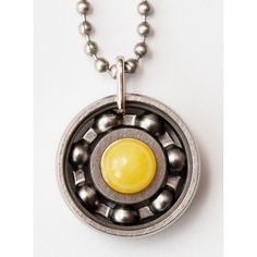 Yellow Jade Roller Derby Skate Bearing Pendant Necklace (84 RON) ❤ liked on Polyvore featuring jewelry, necklaces, bear necklace, jade jewelry, yellow necklace, yellow jewelry and yellow pendant necklace