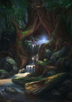 Magic Hour by Mirchaz Fantasy Art Landscapes, Fantasy Landscape, Fantasy Artwork, Fantasy Places, Fantasy World, Magic Forest, Magic Hour, Fantasy Setting, Environment Concept Art