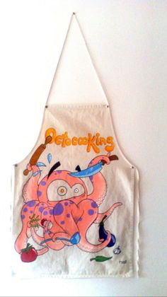 """Delantal """"Octocooking"""". Pintado a mano con pinturas y rotuladores textiles."""