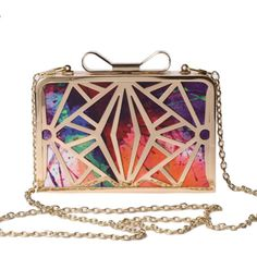 Maizy Metal Multicolor Clutch ❤ liked on Polyvore featuring bags, handbags, clutches, purses, multi colored clutches, colorful clutches, multi colored purses, colorful purses and multi colored handbags