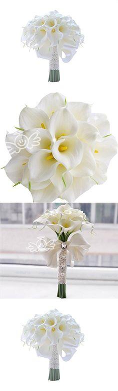 18 Calla Lily Bridal Wedding Bouquet 18 head Latex Real Touch PE Flower Bouquets Bridal Wedding Bouquet