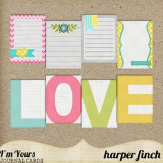 journal cards = Harper Finch: Sunday Afternoon + Home Run + I'm Yours