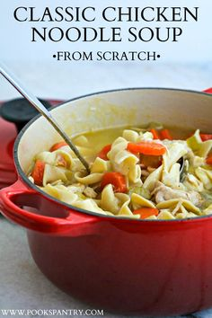 "Classic Chicken Noodle Soup is the epitome of the ""cure all soup"". It is comforting, delicious and what we crave when we're under the weather. #chickennoodle #souprecipe #chickennoodlesoup #soupfromscratch Best Soup Recipes, Easy Casserole Recipes, Chowder Recipes, Crockpot Recipes, Chicken Recipes, Dinner Recipes, Healthy Recipes, Chili Recipes, Fall Recipes"