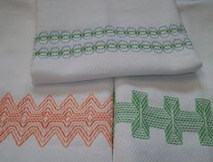 Swedish Weaving Huck Embroidery Border Set A. $5,00, via Etsy.