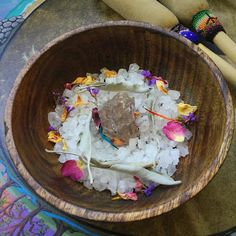 Offering Bowl with Himalayan salt, smoky quartz, and white sage leaves to honor your blessed practice.