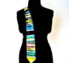 Cravatta per uomo in pura seta dipinta a mano a righe con
