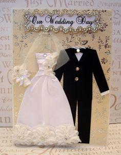 Diamond Rose Personalized Wedding Dress Card / C5 Size / Handmade Greeting Card