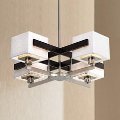 Possini Euro Design Mirrored Grids Metal and Wood Chandelier - #87776 | Lamps Plus