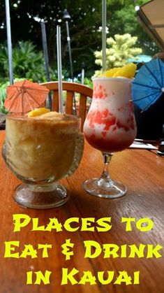 Places to eat and drink in Kauai Hawaii, ranging from quick eats at roadside stands to fancy dining. We'll also tell you where to find the best shave ice in Kauai! Kauai Vacation, Hawaii Honeymoon, Vacation Destinations, Vacation Trips, Vacations, Honeymoon Ideas, Hawaii Getaways, Vacation Ideas, Honeymoon Spots
