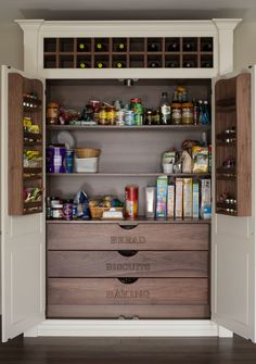 Labeled Wooden Pantry Drawers