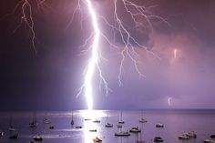 A boat mast was struck by lightning during a storm in the French Mediterranean...