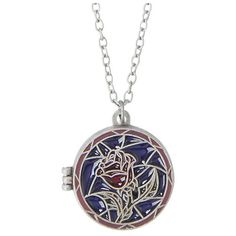 Disney Beauty And The Beast Stained Glass Rose Locket Necklace Hot... ($10) ❤ liked on Polyvore featuring jewelry, necklaces, chain locket necklace, disney, rose locket, locket jewelry and rose jewelry