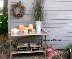 Easy To Make Garden Potting Benches--also like the labeled baskets on bottom shelf.