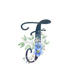 «Monogram F Wild Blue Flowers Floral Letters, Monogram Letters, Doodle Name, J Tattoo, Picture Cat, Stylish Alphabets, Wallpaper Backgrounds, Wallpapers, Alphabet Images
