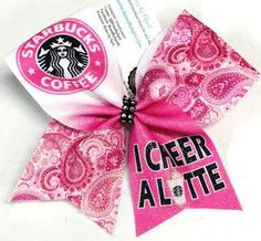 Bows by April - I Cheer a Latte Starbucks Coffee Pink Sublimated Glitter Bow, $15.00 (http://www.bowsbyapril.com/i-cheer-a-latte-starbucks-coffee-pink-sublimated-glitter-bow/)