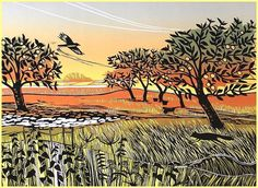 Rob Barnes. Apple Orchard. Linocut.