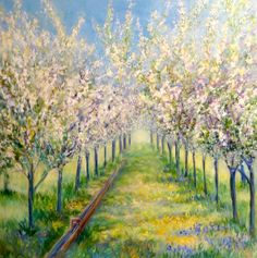 "1912 - 100,000 Fruit Trees by Sea Dean. 24"" x 24"" Gallery Wrap Canvas. Painting to be auctioned by the Urban Rutland Business Association at a gathering in Rutland on November 20th, 2015"