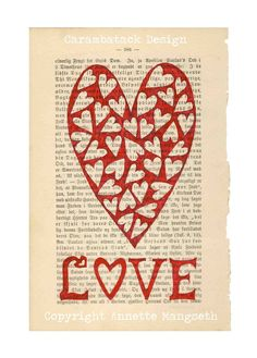 LOVE - A4 size Art print - Ink drawing on vintage bookpage