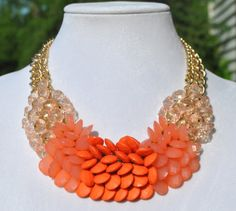 On Sale Statement Necklace Coral Necklace by LaVieEnJewelry, $24.00