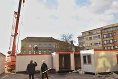 Opbouw dubbele containers 'Mijn Pop-uprestaurant' gestart (Kortrijk) - Het Nieuwsblad