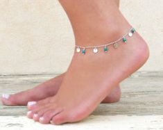 Silver Or Gold Coin Charms And Turquoise Anklet, Silver Anklet, Gold Anklet, Layering Anklet, Coin Anklet, Turquoise Anklet