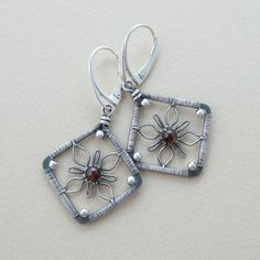 Flower Squares Earrings Wire Wrapping Jewelry Making Lesson