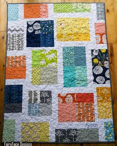 Scrappy Tiles Baby Quilt - FairyFace Designs