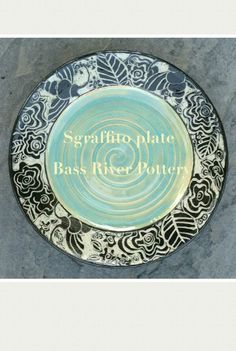 Sgraffito plate, bumble bees. Bumble Bees, Sgraffito, Bass, Decorative Plates, Clay, Pottery, River, Tableware, Clays