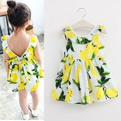 """OMG!!!  I freaking LOVE LEMONS!!! This website has lots of awesome """"cheap"""" stuff!!   Cheap dress up china girls, Buy Quality clothes wrestling directly from China dress swan Suppliers:    Kids Dresses for Girls Children Girl Summer Dress Kids Clothes ropa de ninas Cotton Lemon Print Yellow Sundress Girls"""