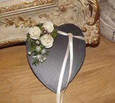 Ringkissen Schiefer Herz mit Rosen creme grün mit / ohne Beschriftung zur Hochze