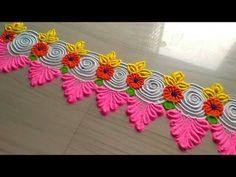 How to make rangoli/beautiful & awesome border rangoli designs for gudi padwa by jyoti Rathod Easy Rangoli Designs Videos, Rangoli Designs Simple Diwali, Simple Rangoli Border Designs, Rangoli Designs Latest, Rangoli Designs Flower, Rangoli Borders, Latest Rangoli, Small Rangoli Design, Rangoli Ideas