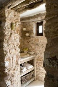35 Excellent Raw Stone Bathroom Design Ideas : 35 Excellent Raw Stone Bathroom Design Ideas With Stone Wall And Wooden Washbasin And Towel B. Natural Stone Bathroom, Natural Stones, Stone Bathroom Sink, Granite Bathroom, House In Nature, Shabby Home, Shabby Chic, Chic Bathrooms, Bathroom Modern