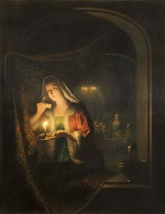 "monsieurleprince: "" Petrus van Schendel (1806 - 1870) - Girl with a candle at the window """