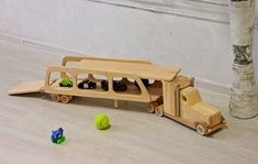 Wood car truck trailer Montessori toy for boys Children's #wood #kids #toys #woodtoys #woodworking #kidsgifts #babyshower