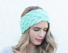Mint Cable Knit Headband Knitted Headband Gift by BeanConceptShop Winter  Headbands 570d582c59e