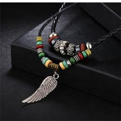 $15.56 - Antique Long Necklace Beads Angel Wing (Buy this item for FREE SHIPPING) Rope Chain, Metal Chain, Feather Necklaces, Beaded Necklace, Beaded Angels, Angel Wing Necklace, Angel Wings, Shape Patterns, Necklace Designs